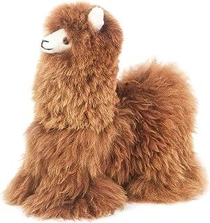 Raymis 100% Baby Alpaca Brown Fur Standing Alpaca Llama Figure Toy (12-Inch)