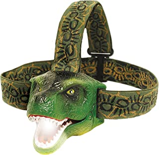 DinoBryte LED Headlamp - T-Rex Dinosaur Headlamp for Kids | Realistic Dino Roar Sounds | Toy Head Lamp for Camping, Hiking, Reading, Parties and More