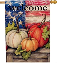 Dyrenson Welcome Fall 28 x 40 House Flag Patriotic Double Sided, Rustic Autumn Harvest Pumpkin Primitive Quote Burlap Garden Yard Decoration, Home Seasonal Vintage Outdoor Décor Large Decorative Flag