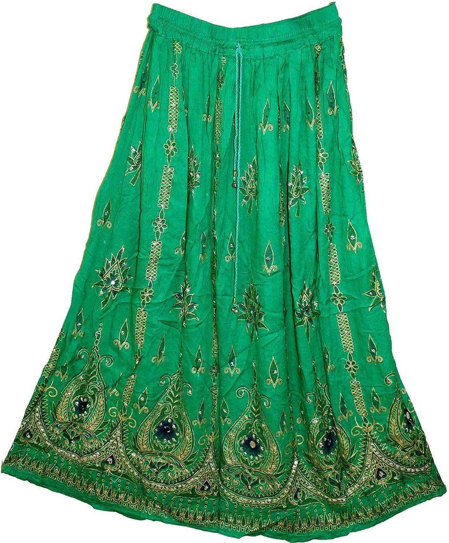 1X Size Rayon Skirt Indian Hippie Rock Gypsy Kjol Jupe Retro Falda Women Parrot Green