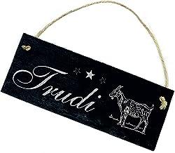 Bord leisteen bord met gravure - geit - gewenste naam Stall naambordje 22x8cm