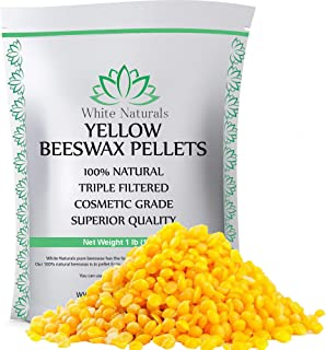 Beeswax Pellets 1 lb, Yellow, Pure, Natural, Cosmetic Grade, Bees Wax Pastilles, Triple Filtered, Great for DIY Projects, Lip Balms, Lotions, Candles by White Naturals