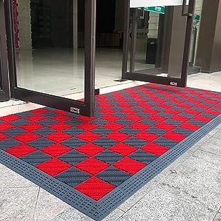Felpudos Entrada Casa Rojo y Gris Felpudo para Al Aire Libre Entrada, Lavable Tarea Pesada Tapetes para Puertas Delanteras...