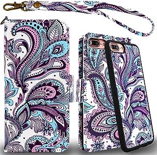 Mefon Detachable Leather Wallet Phone Case, with Tempered Glass and Wrist Strap, Enhanced Magnetic Closure, Durable Slim, Luxury Flip Folio Cases for Apple iPhone 8 Plus, 7 Plus, 6S / 6 Plus (Phoenix)