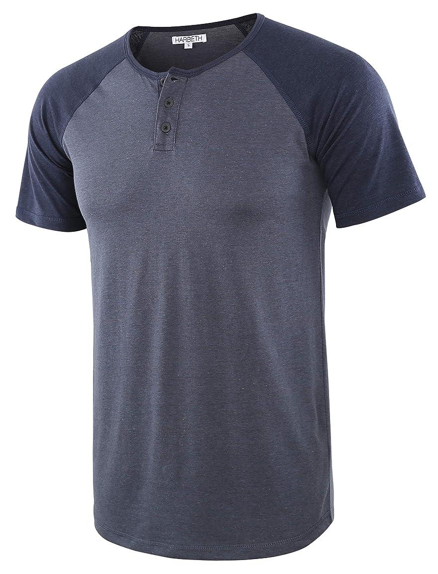 e81dd00d022f ... HARBETH Men's Casual Short Sleeve Henley Shirt Raglan Fit Baseball T-Shirts  Tee