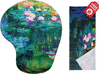 Claude Monet Water Lilies VI Ergonomic Design Mouse Pad with Wrist Support Gel Hand Rest. Matching Microfiber Cleaning Cloth for Glasses, Cars & Electronics. Mouse Pad for Laptop, PC Computer & Mac