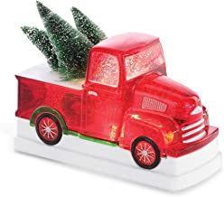 Napco Festive Glittery Red Christmas Tree Truck LED 8 x 6 Acrylic Decorative Tabletop Figurine