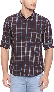 BASICS Slim Fit Seal Brown Checks Shirt