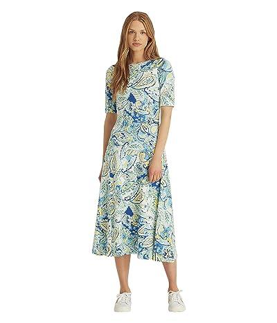 LAUREN Ralph Lauren Paisley Stretch Cotton Midi Dress
