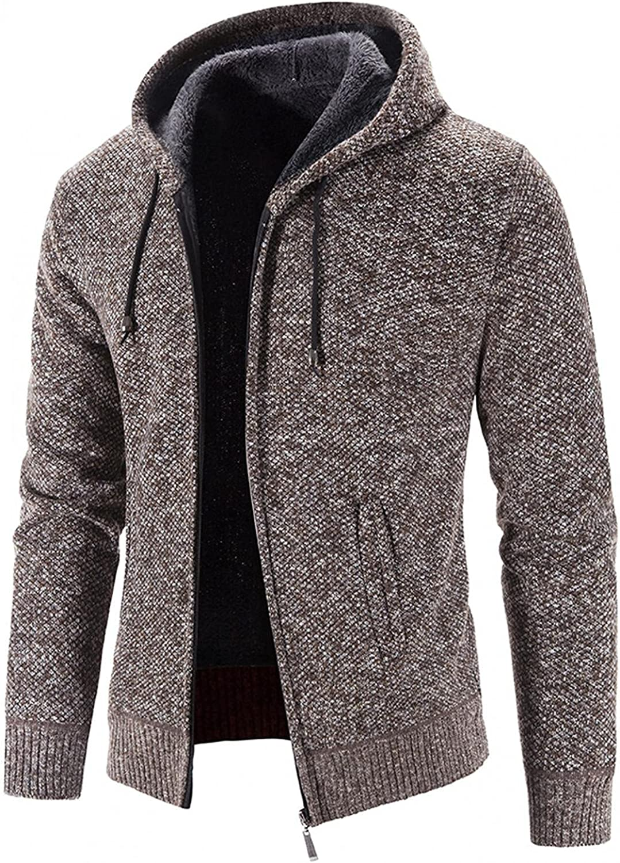 Aayomet Hoodies Cardigan for Men Winter Warm Solid Zip Long Sleeve Casual Hooded Pullover Tops Sweaters Coat