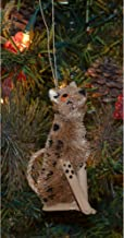 """GC Home & Garden 4.25"""" Brown and Black Bristle Brush Handcrafted Cheetah Hanging Figurine Ornament"""