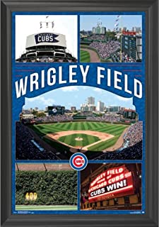 Chicago Cubs Wrigley Field Wall Art Decor Framed Print   24x36 Premium (Canvas/Painting Like) Textured Poster   MLB Baseball Sports Team Man Cave Fan Photo   Memorabilia Gifts for Guys & Girls Bedroom