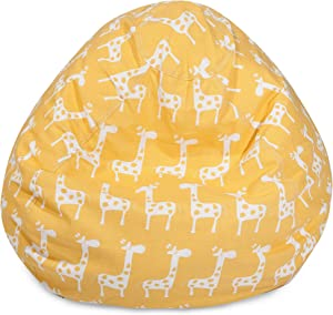 Majestic Home Goods Stretch Large Classic Bean Bag Chair, Yellow