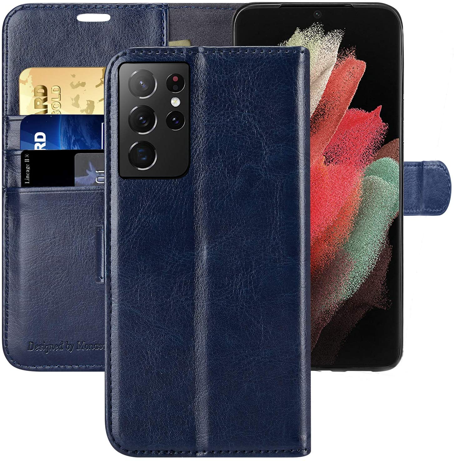 Galaxy S21 Ultra 5G Wallet Case, 6.8 inch,MONASAY [Included Screen Protector] Flip Folio Leather Cell Phone Cover with Credit Card Holder for Samsung Galaxy S21 Ultra 5G
