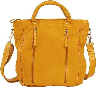 DUDU Women Large Bag Shoulder Handbag Vintage Soft Leather Zipped Shopper High Capacity Bag Saffron Yellow