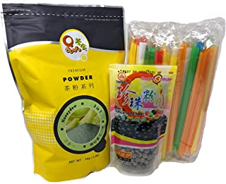 Qbubble Tea Honeydew Powder 2.2 Pound With 50pcs Bubble (Large) Straw and WuFuYuan - Tapioca Pearl (Black) - Net Wt. 8.8 Oz