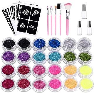 Nivlan Glittertatoeages, waterdicht, met 24 glittertubes en 143 sjablonen, tijdelijke tatoeages voor kinderen, tieners en ...