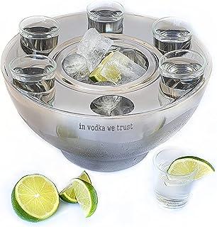Maverick Unity Vodka Serving Set - A Special Vodka Gift Set - A Stainless Steel Vodka Chiller Set - 6 Vodka shot glasses i...