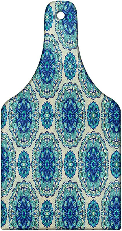 Ambesonne Mandala Cutting Board Oriental Geometric Floral Elements Ornamental Green Blue Tones Decorative Tempered Glass Cutting And Serving Board Wine Bottle Shape Pale Sage Green And Multicolor