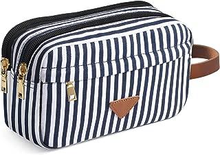 Women & Men Travel Toiletry Organizer Bag Canvas Shaving Dopp Kit (Stripe)