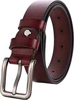 Ayli Women's Handcrafted Classic Square Metal Buckle Genuine Leather Jean Belt