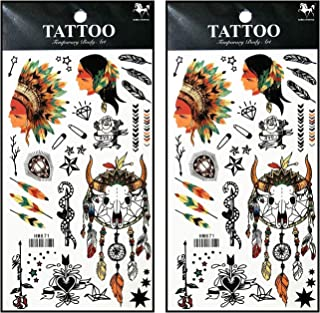Tattoos 2 Sheets Beautiful Feather Indian Tribe Skull Bull Head Temporary Tattoo 3D Fake Waterproof for Man Women Girls Lower Back Shoulder Neck Arm