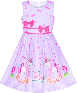 1dcbab9563c Sunny Fashion Girls Dress Rose Flower Double Bow Tie Party Sundress