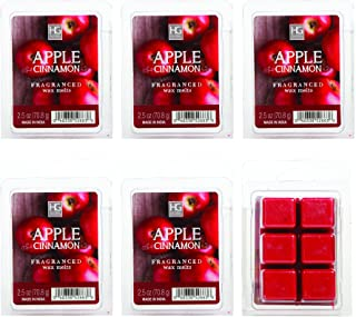 Hosley Set of 6 Apple Cinnamon Scented Wax Cubes/Melts - 2.5 oz Each. Hand Poured Wax Infused with Essential Oils. Bulk Buy. Ideal for Weddings, Spa, Reiki, Meditation Settings W1