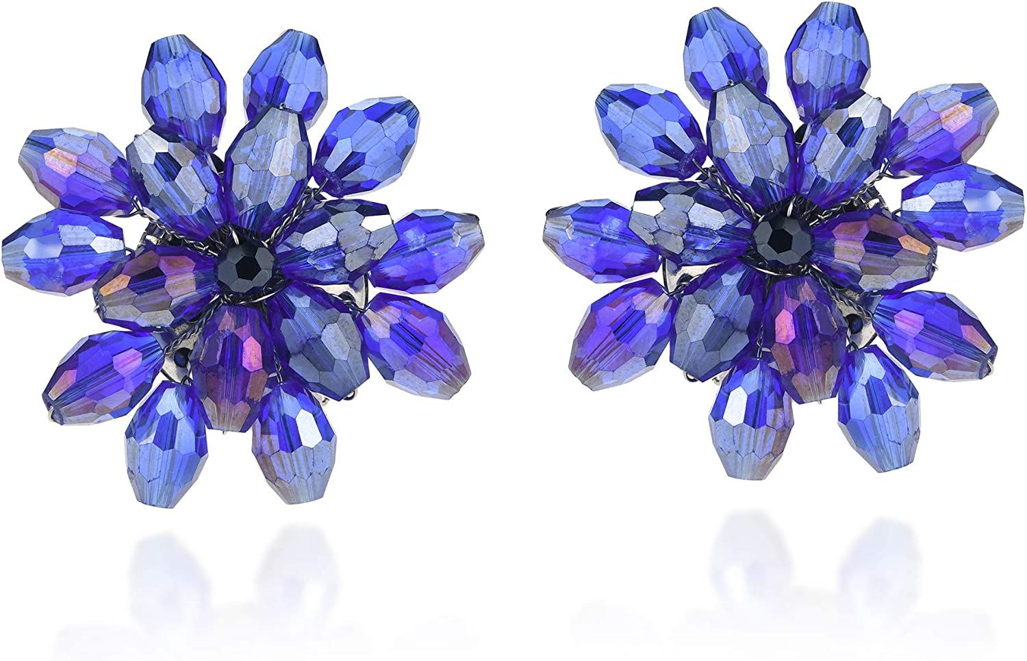 Dazzling Purple Chrysanthemum Floral Fashion Crystal Clip On Earrings