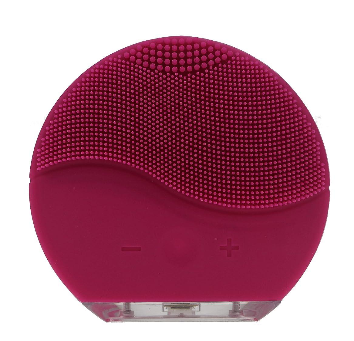 偽剥離費やすダンマ防水シリコーン電気洗顔ブラシブラシマッサージャーUSB充電&充電式(レッド)
