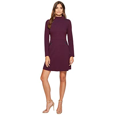 Maggy London Retro Jacquard Fit Flare Dress (Blue/Wine) Women