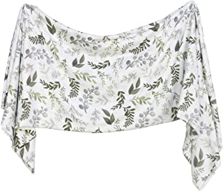 Extra Soft Knit Swaddling Receiving Blanket Graceful Greenery by Village Baby
