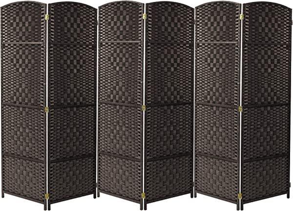 Sorbus Room Divider Privacy Screen Foldable Panel Partition Wall Divider Room Dividers And Folding Privacy Screens Diamond Double Weaved 6 Panel Espresso Brown
