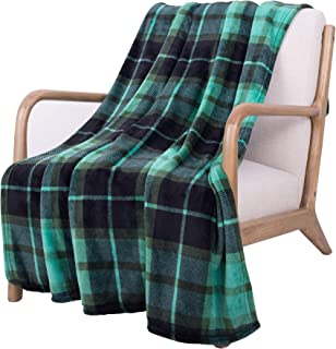 SOCHOW Flannel Fleece Blanket 60 × 80 Inches, All Season Plaid Green Blanket for Bed, Couch, Car