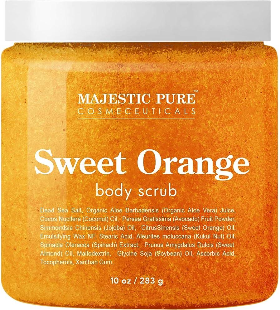 Majestic Pure Sweet Orange Body Scrub - Exfoliates, Moisturizes, and Nourishes Skin, 10 oz