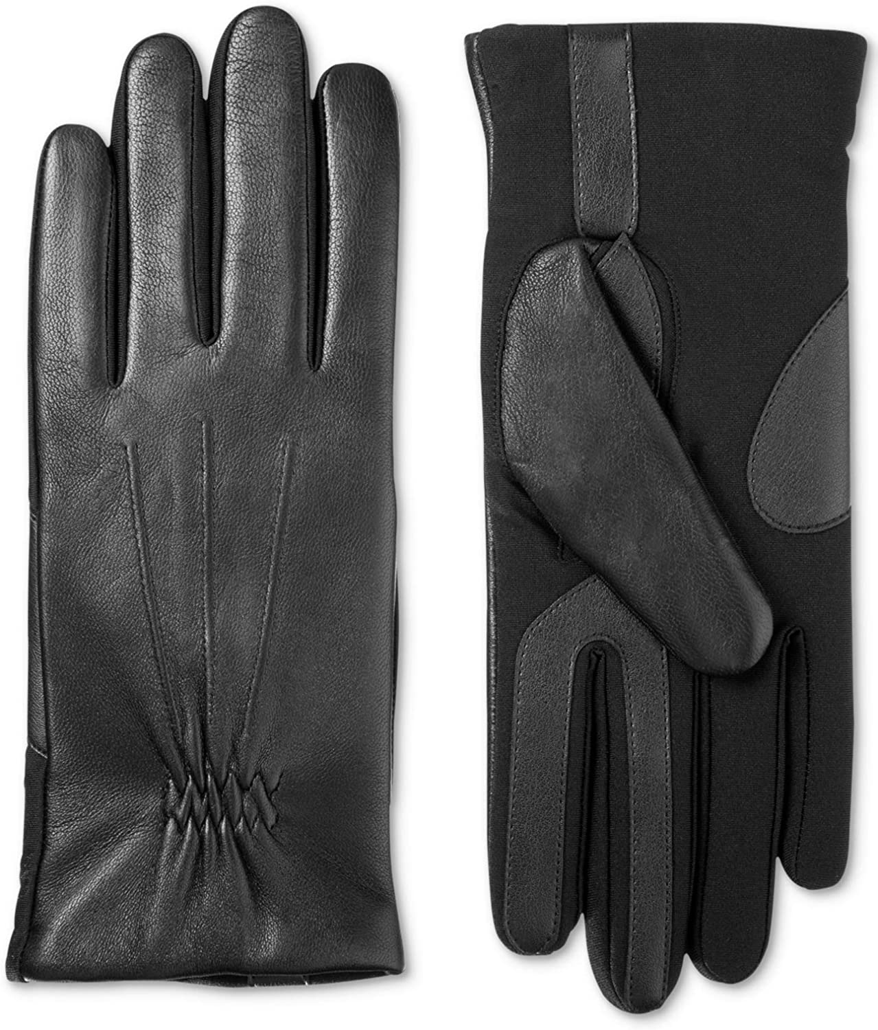 Isotoner Women's Stretch Leather Touchscreen Gloves with SleekHeat Black