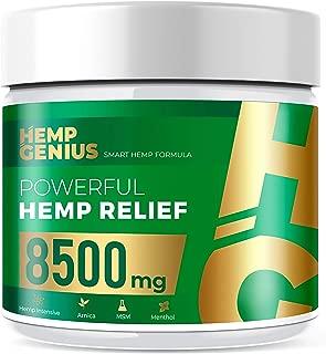 HEMP GENIUS Hemp Relief 8500mg Cream The Smart Hemp Pain Relief Cream Therapy for Arthritis, Back, Knee, Hands, Neck, Feet, Muscle Soreness, Inflammation, Joints, Arnica- 2oz