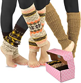 TeeHee Gift Women's Fashion Leg Warmers 3-Pack Assorted Colors (Assorted Cable Knit)