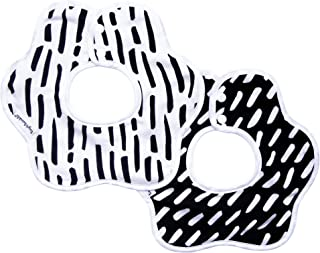Tiny Twinkle Roundabout Drool Bibs 2 Pack - 360 Rotating Waterproof and Absorbent Teething Baby Bibs (Black and White)