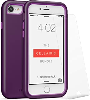 Cell Phone Case for Apple iPhone 8 (Dark Purple) - Triple Layer Protection - with a Scratch Resistant Tempered Glass Screen Protector & Cellairis Bundle