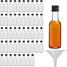 Belle Vous 48 Mini Bouteille - Bouteilles Miniatures Réutilisables 50ml Vides en Plastique avec Bouchons Noirs et Entonnoir pour Liquides - Mignonnettes Alcool Excellentes pour Mariages et Fêtes