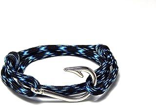 Mens Womens Nautical Fish Hook Bracelet Pink White Silver Tone Fish Hook Adjustable