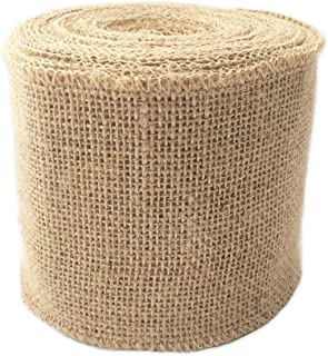 "LWR CRAFTS Natural Burlap Ribbon 32 Feet (4"")"