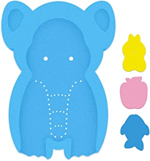 HALLO Soft Infant Bath Sponge Elephant Baby Bath Mat Newborn Comfy Foam Skid-Proof Cushion Odor Free(Blue)