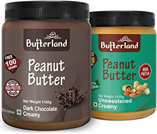 Butterland Peanut Butter Combo | Natural Unsweetened Creamy + Chocolate Creamy | 1.1 kg+1.1 kg = 2.2 kg | Pack of 2 | High...