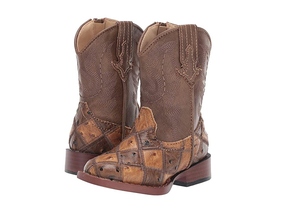 Roper Kids Bird Blocks (Toddler) (Patchwork Vamp/Tan Shaft) Cowboy Boots