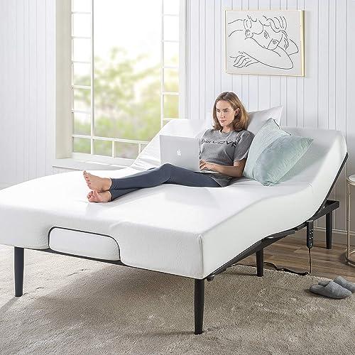Zinus Queen Bed Frame Adjustable Smart Base Bed Base | Steel Slat Support