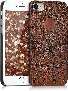 kwmobile Funda para Apple iPhone 7/8 - Carcasa de [Madera] - Case Trasero Protector [Duro] con diseño de Sol hindú
