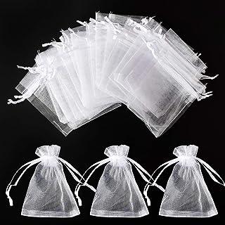 Tomkity 150 - Sacchetto in organza, per regali, caramelle, gioielli con nastro, per matrimonio, Natale, 10 x 15 cm