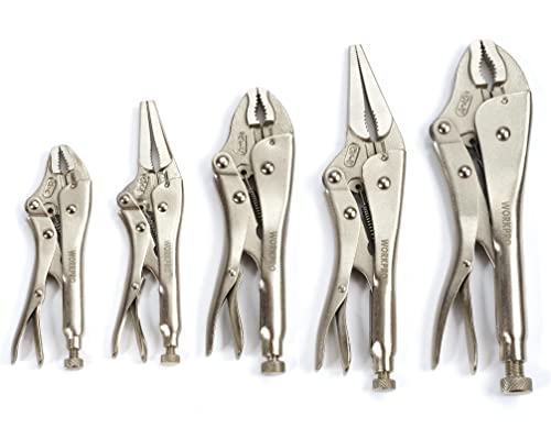 high quality WORKPRO 5-Piece Locking Pliers Set(5/7/10 inch Curved Jaw outlet sale Pliers,6.5/9 inch high quality Long Nose Pliers), W001316A outlet sale